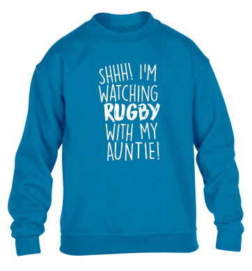 Shhh I'm watchin rugby with my auntie children's blue sweater 12-13 Years