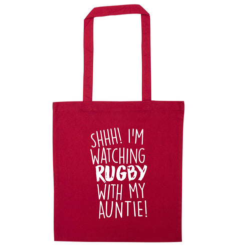 Shhh I'm watchin rugby with my auntie red tote bag