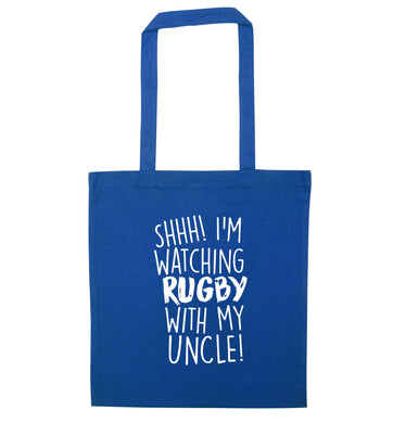 Shh.. I'm watching rugby with my uncle blue tote bag