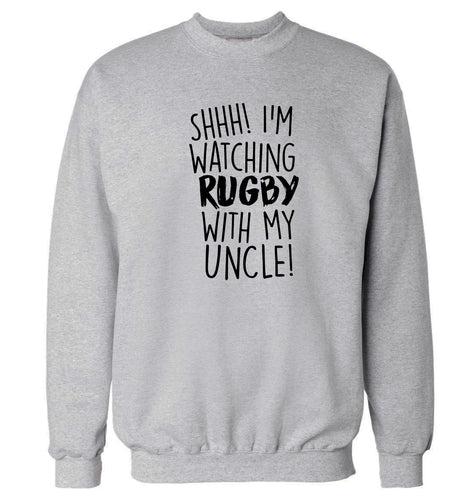 Shh.. I'm watching rugby with my uncle Adult's unisex grey Sweater 2XL