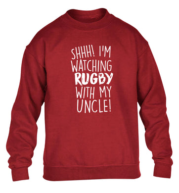 Shh.. I'm watching rugby with my uncle children's grey sweater 12-13 Years