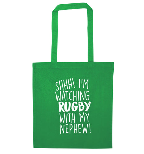 Shh.. I'm watching rugby with my nephew green tote bag