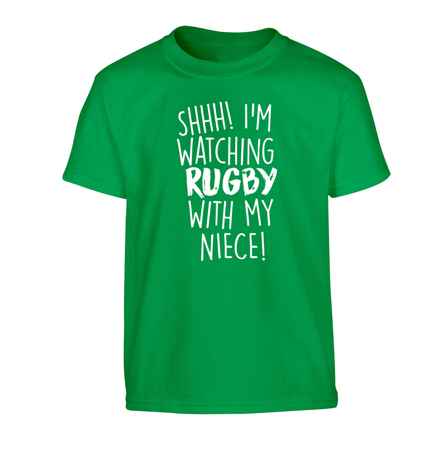 Shh.. I'm watching rugby with my niece Children's green Tshirt 12-13 Years