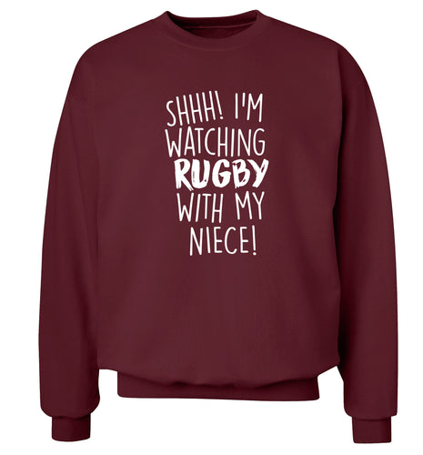 Shh.. I'm watching rugby with my niece Adult's unisex maroon Sweater 2XL