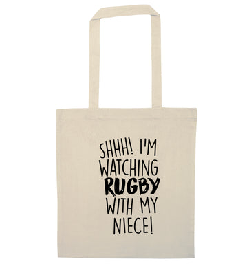 Shh.. I'm watching rugby with my niece natural tote bag