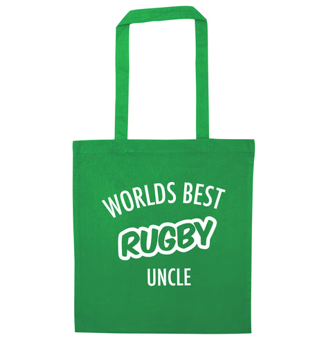 Worlds best rugby uncle green tote bag