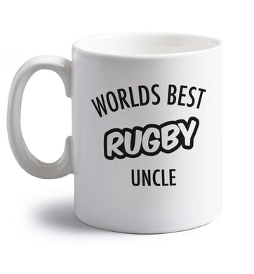 Worlds best rugby uncle right handed white ceramic mug