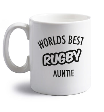 Worlds best rugby auntie right handed white ceramic mug