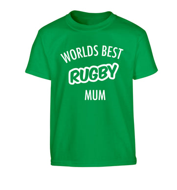 Worlds best rugby mum Children's green Tshirt 12-13 Years