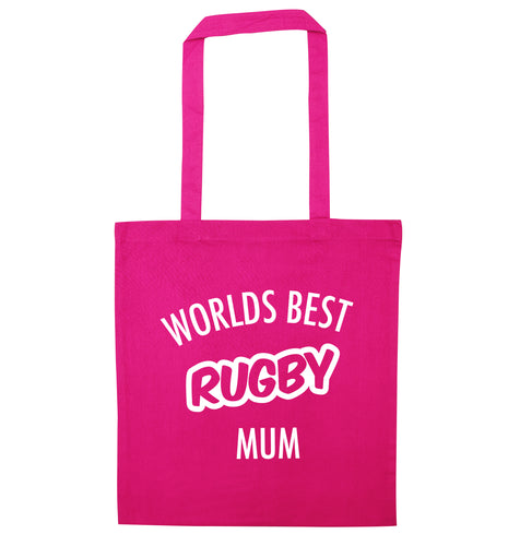 Worlds best rugby mum pink tote bag