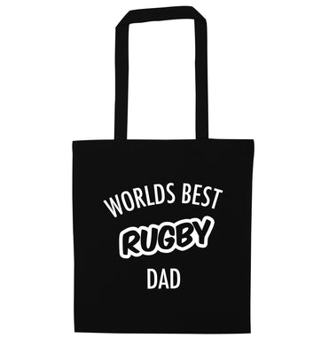 Worlds best rugby dad black tote bag