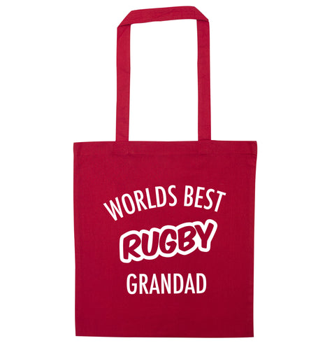 Worlds best rugby grandad red tote bag