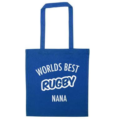Worlds Best Rugby Grandma blue tote bag