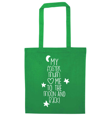 My foster mum loves me to the moon and back green tote bag