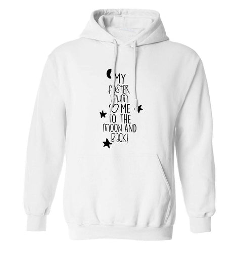 My foster mum loves me to the moon and back adults unisex white hoodie 2XL