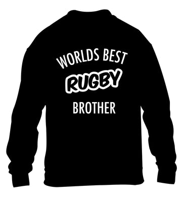 Worlds best rugby brother children's black sweater 12-13 Years