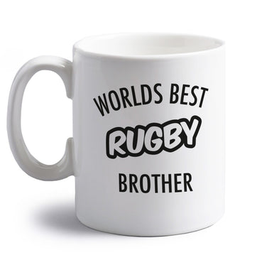 Worlds best rugby brother right handed white ceramic mug