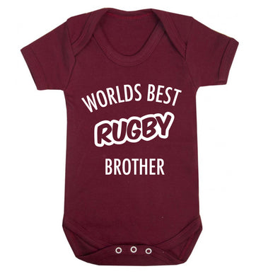 Worlds best rugby brother Baby Vest maroon 18-24 months