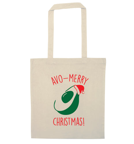 Avo-Merry Christmas natural tote bag