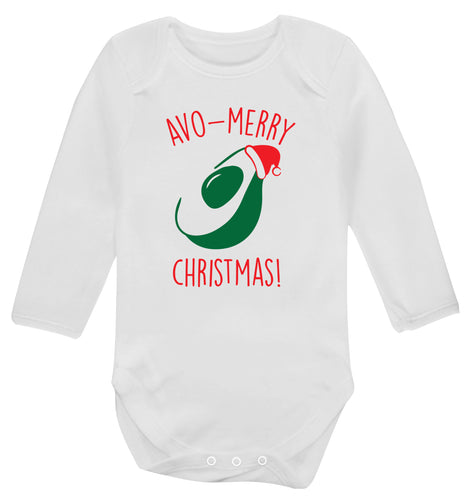 Avo-Merry Christmas Baby Vest long sleeved white 6-12 months
