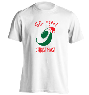 Avo-Merry Christmas adults unisex white Tshirt 2XL