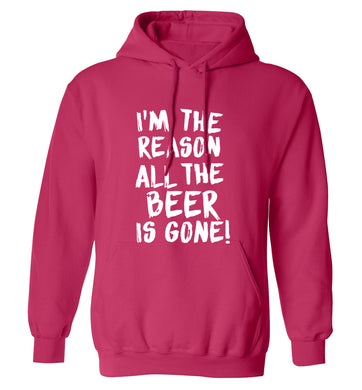 I'm the reason all the beer is gone adults unisex pink hoodie 2XL