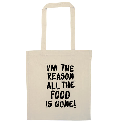 I'm the reason why all the food is gone natural tote bag