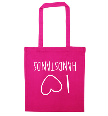 I love handstands pink tote bag