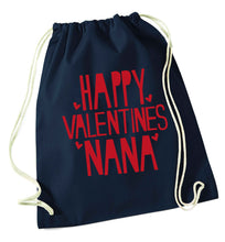Happy valentines nana navy drawstring bag