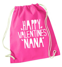 Happy valentines nana pink drawstring bag