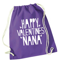 Happy valentines nana purple drawstring bag
