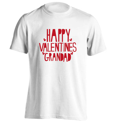Happy valentines grandad adults unisex white Tshirt 2XL
