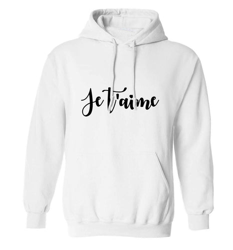 Je t'aime adults unisex white hoodie 2XL