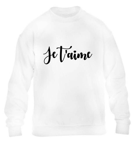 Je t'aime children's white sweater 12-13 Years