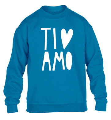 Ti amo - I love you children's blue sweater 12-13 Years