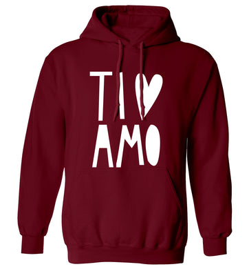Ti amo - I love you adults unisex maroon hoodie 2XL
