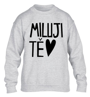 Miluji T_ - I love you children's grey sweater 12-13 Years