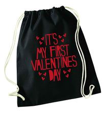 Hearts It's my First Valentine's Day black drawstring bag