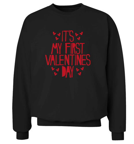 Hearts It's my First Valentine's Day adult's unisex black sweater 2XL