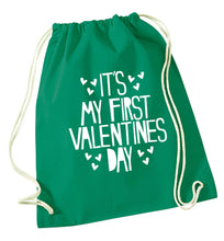 Hearts It's my First Valentine's Day green drawstring bag