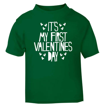 Hearts It's my First Valentine's Day green baby toddler Tshirt 2 Years