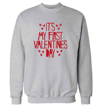Hearts It's my First Valentine's Day adult's unisex grey sweater 2XL
