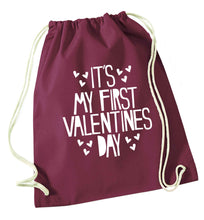Hearts It's my First Valentine's Day maroon drawstring bag