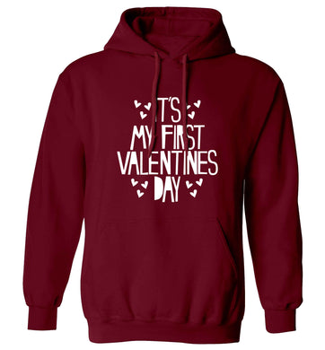 Hearts It's my First Valentine's Day adults unisex maroon hoodie 2XL