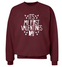 Hearts It's my First Valentine's Day adult's unisex maroon sweater 2XL