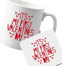 10 oz Ceramic mug and coaster Hearts It's my First Valentine's Day both sides