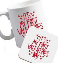 10 oz Hearts It's my First Valentine's Day ceramic mug and coaster set right handed