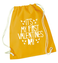 Hearts It's my First Valentine's Day mustard drawstring bag