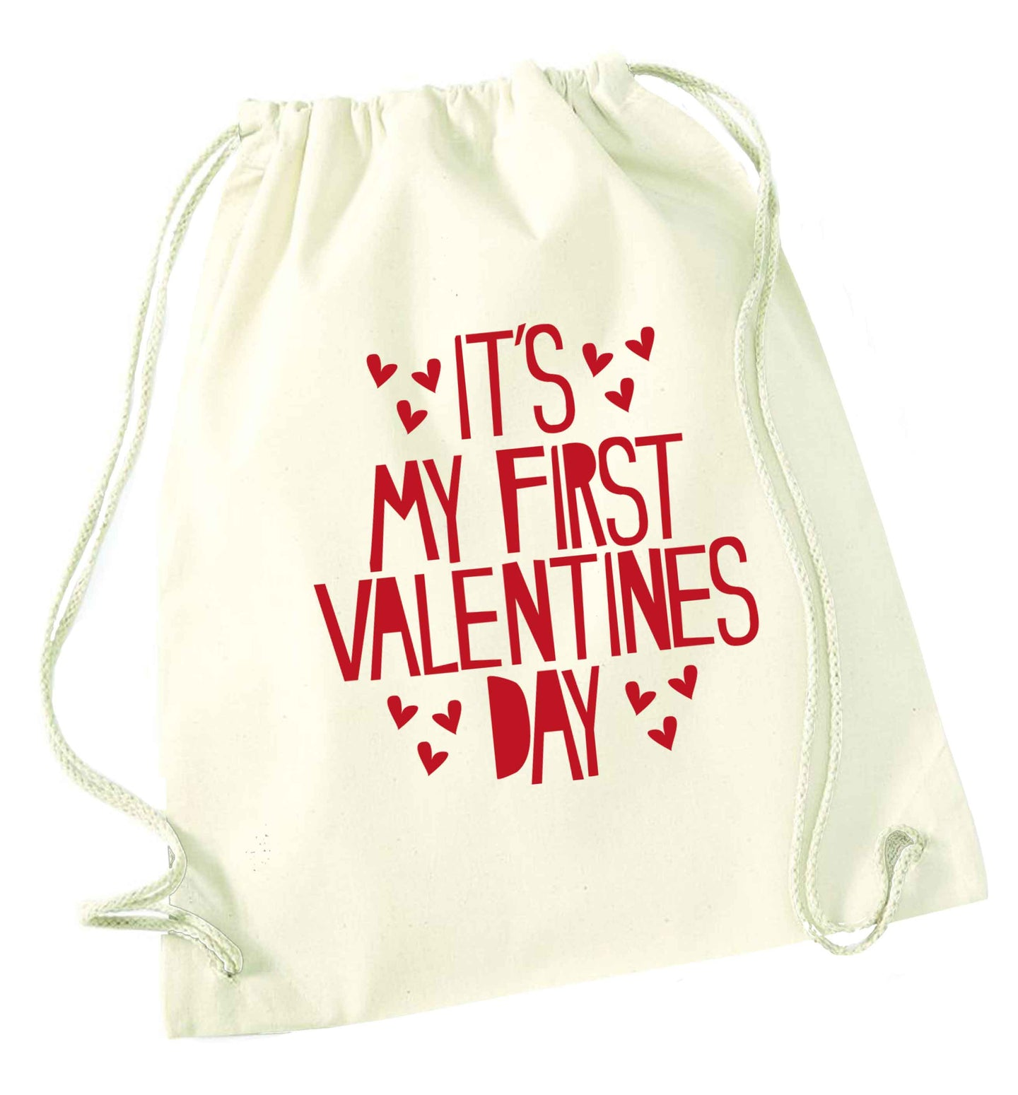 Hearts It's my First Valentine's Day natural drawstring bag