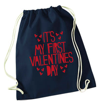 Hearts It's my First Valentine's Day navy drawstring bag